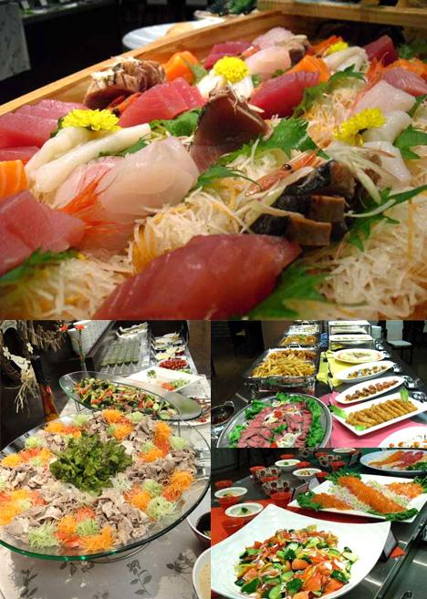 かもしか荘のバイキング刺身とお寿司
